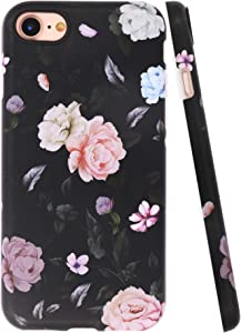 A-Focus New iPhone SE 2020 Case Flowers, iPhone 8 Case Rose, iPhone 7 Case Floral Frosted IMD Series Anti Scratch Flexible Slim TPU Case for iPhone SE / 8/7 4.7 inch Matte Flower Black