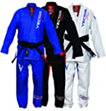 Brazilian Jiu Jitsu BJJ Gi Kimono with White Belt for Men & Women Preshrunk Pearl Weave 100% Cotton Fabric - Ultra Strong Flamma Series Competition Level, Color Black Blue White, Size A0 A1 A2 A3 A4
