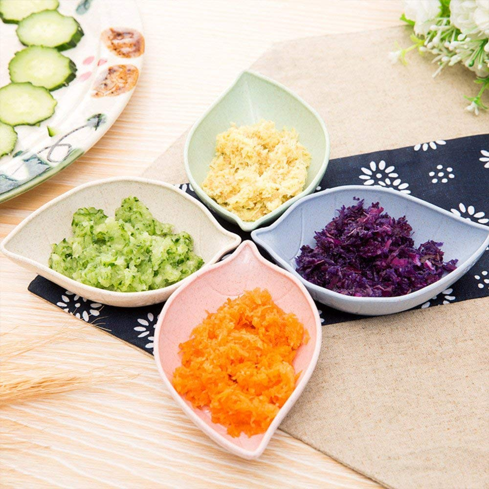 Multicolor Leaf Shape Natural Degradation of Wheat Straw Dipping Dish Dinnerware Set Multipurpose Small Seasoning Sauce Dishes 8 pcs Saucer for Vinegar//Salad//Soy Sauce//Wasabi//Chili Oil