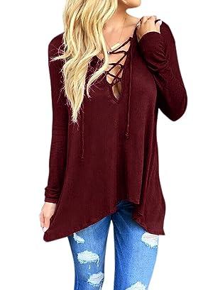 Ezcosplay Fashion Women Sexy Bandage Plain V Neck Long Sleeve Blouse Tops Shirt