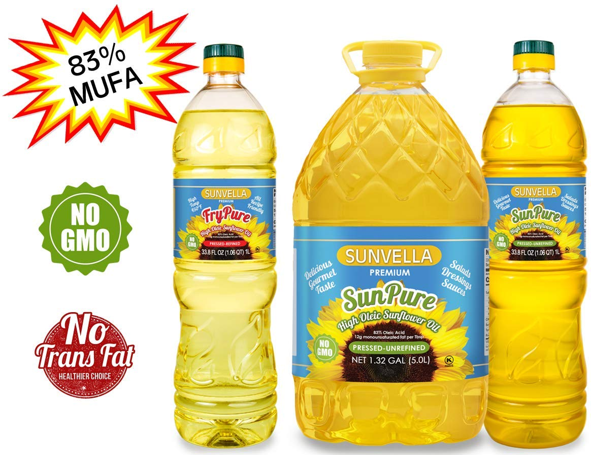 SUNVELLA Non-GMO High Oleic Sunflower Oil Variety Pack/Pressed-Refined + Pressed-Unrefined (Variety Pack (1.0L FryPure+5.0L+1.0L SunPure)) by SUNVELLA