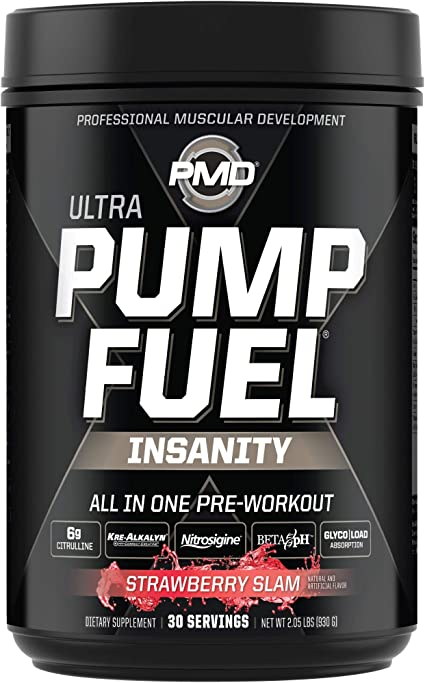 Amazon Com Pmd Sports Ultra Pump Fuel Insanity Pre Workout Drink Mix For Energy Strength Endurance Muscle Pumps And Recovery Complex Carbohydrates And Amino Energy Strawberry Slam 30 Servings Health
