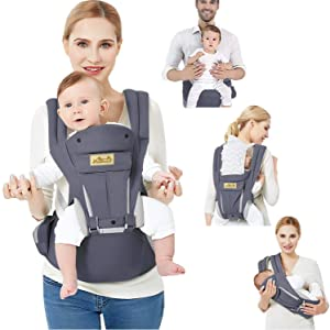 Viedouce Baby Carrier with Seat Lightweight Child Carriers for Infant Toddler, Dark Gray
