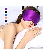 Silk Sleep Mask & Blindfold, Soft Eye Mask with Adjustable Head Strap, Deep Rest Eye Masks for Sleeping Night Eyeshade, Eye Cover for Travel, Shift Work & Meditation(Purple)