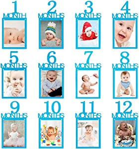 1st Birthday Baby Photo Banner ,Blue Glitter Growth Record 1 to12 Month Photo Prop ,Monthly Milestone Photograph Bunting Garland, Boy First Birthday Celebration Decoration Supplies