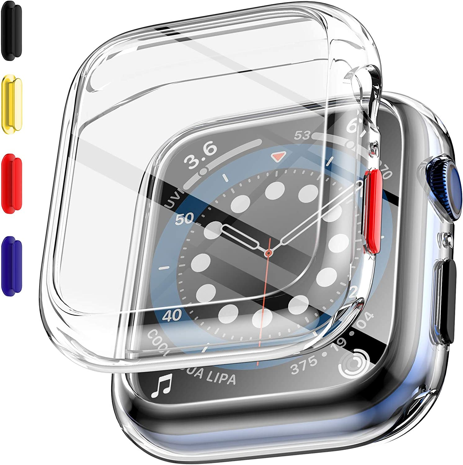 EGV 2 Pack Tempered Glass Case Compatible with Apple Watch Series 6 / SE/Series 5 / Series 4 44mm Screen Protector, Replaceable Buttons, All-Around Bumper Protective, Silicone Protector Cover-Clear