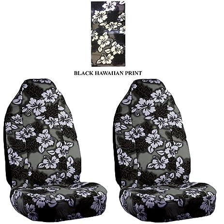 Black Charcoal Hawaiian Hawaii Aloha Print With White Hibiscus Flowers Wild Series 2PC Car Truck SUV