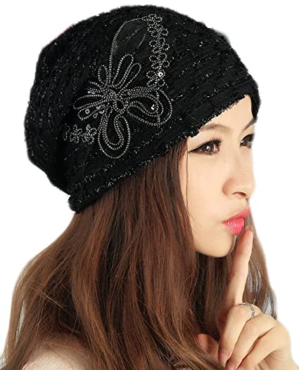 22ca15465f305 Image Unavailable. Image not available for. Color  Qunson Womens Lace  Sequin Butterfly Beanie Hat Cap Turban
