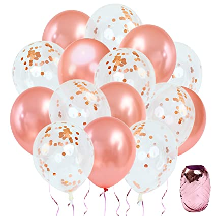 rose gold confetti balloons decorations pack of 30 12 inch great for bridal shower decorations