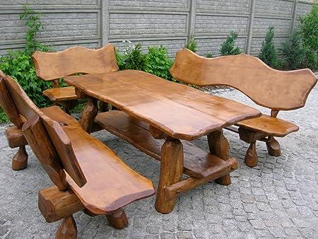 Rustikale Sitzgruppe Aus Eiche Für Den Garten Langer Tisch