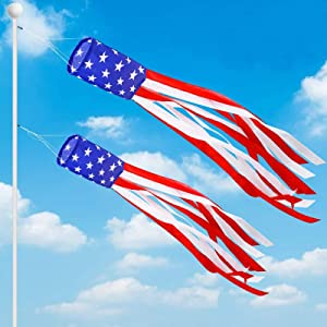 """AMENON 2Pack 70""""+60"""" American Flag Windsock 4th July Decorations,Stars & Stripes US Patriotic Decoration Wind Sock Outdoor Hanging Garden Yard Fourth July Red White and Blue Decor"""