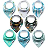 Bestbaby Baby Dribble Bibs Bandana with Snaps 8 Packs Super Absorbent Organic Cotton Feeding Teething Bibs Cute Baby Shower Gift Set for Newborns Girls Boys Infants Toddlers
