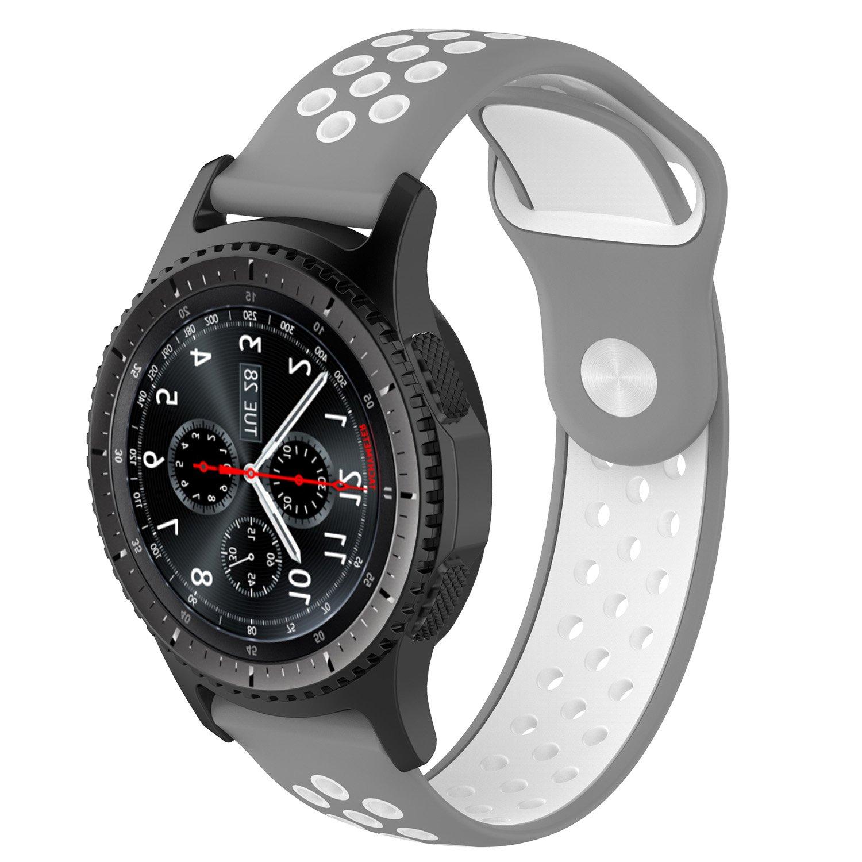 Pinhen - Correa de reloj para Gear S3 Frontier Classic/Moto 360 2º 46 mm/Pebble Time/LG G Watch W100/W110/Urbane Amazfit Smartwatch (silicona), 22 mm
