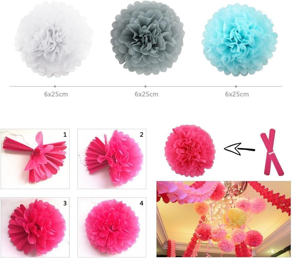 7 Papier Tissu Rose Chambre à Coucher Mur de fleurs Pépinière Fête Anniversaire Décorations