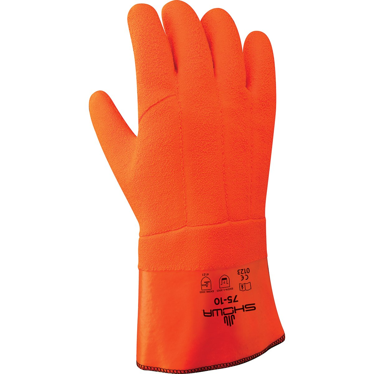 SHOWA 75 Insulated PVC Coated Glove, Foam Insulation, Chemical Resistant, 12'' Gauntlet, Large (Pack of 12 Pairs)