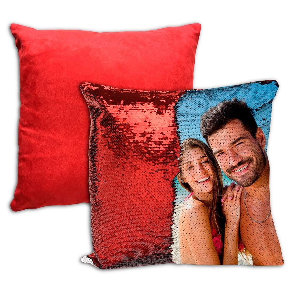 APRIL Cojín Personalizado Lentejuelas Reversible 40 x 40 Color Rojo (Cojin de Lentejuelas Rojo)