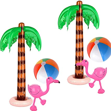 Provone 3 Pack Inflatable Palm Trees Inflatable Flamingo Inflatable Toys for Swimming Pool Beach Hawaii Party Decor Luau Party Backdrop