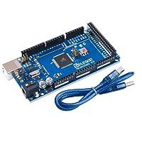 ELEGOO Mega 2560 R3 Tarjeta Mega 2560 Placa con Microcontrolador Basada en el ATmega2560 ATmega16U2 con USB Cable Azul Versión Compatible con Arduino Mega Kit