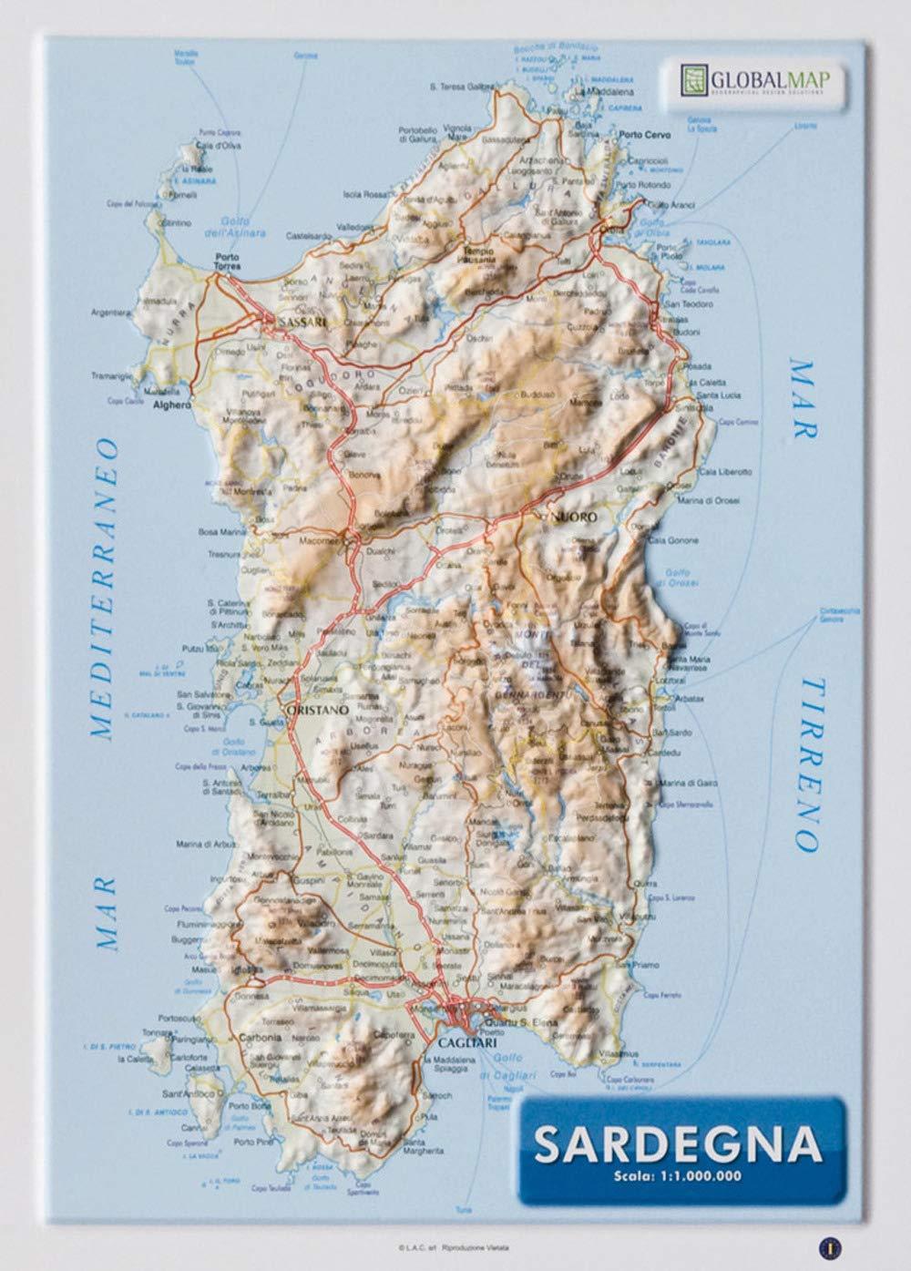 Cartina Sardegna Alghero.Amazon It Sardegna 1 1 000 000 Carta In Rilievo Da Banco Cm 31 2x22 55 Libri