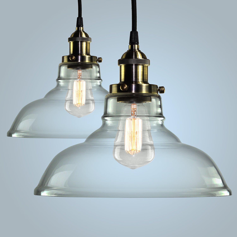 pendant light hanging glass ceiling mounted chandelier fixture shine hai modern industrial edison vintage style pack of 2 ceiling pendants lighting
