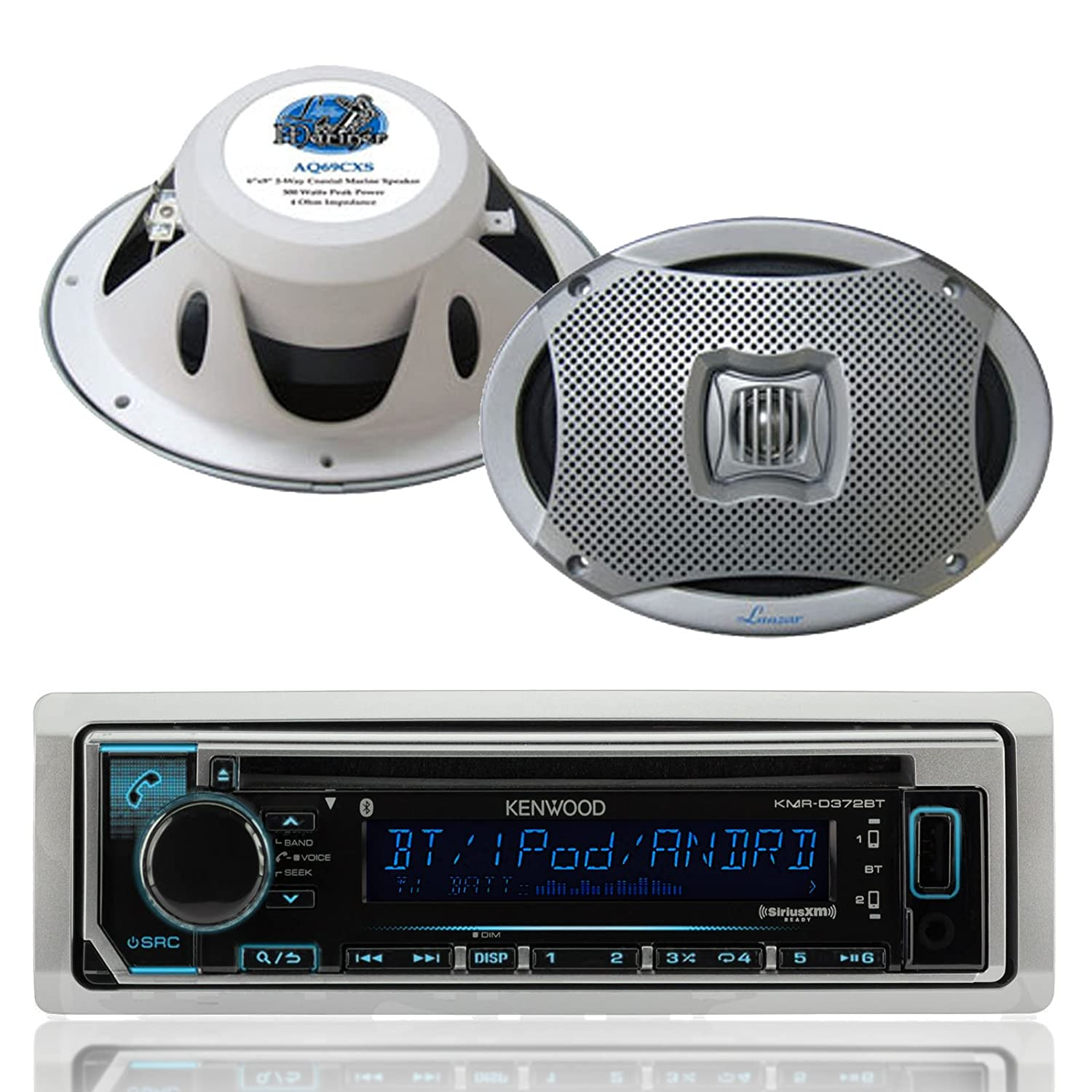 Amazon.com: Kenwood Bluetooth USB CD iPod Radio, 2-Lanzar 6x9 500W White  Marine Speaker Set: Cell Phones & Accessories