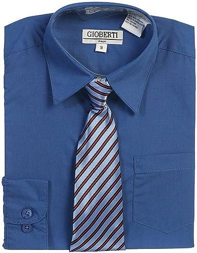 Royal Azul Botón De Up Camisa Azul Corbata a rayas Set de niños 5 ...