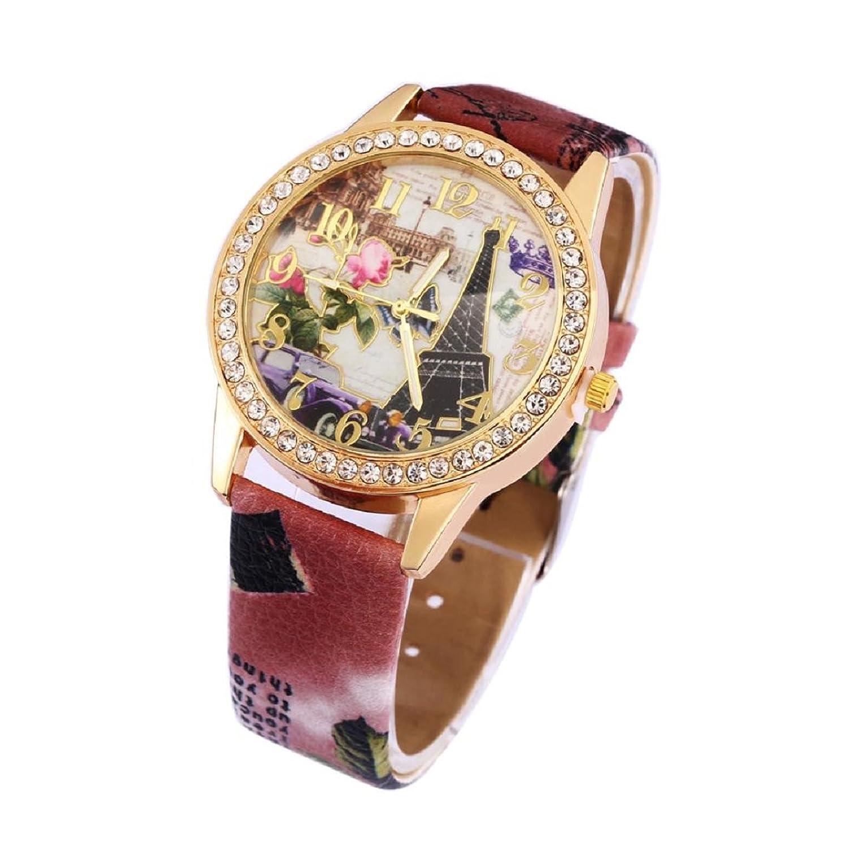 Tonseeレディースヴィンテージカジュアルパリエッフェル塔クォーツクリスタル腕時計,ブラウン B01JG0E4QU