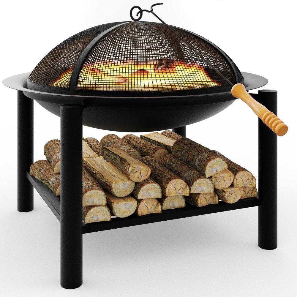Deuba Feuerstelle rund | 50x50 | Feuerhaken | Funkenfluggitter | Holzablagefach | Feuerkorb Feuerschale Grillfeuer Lagerfeuer