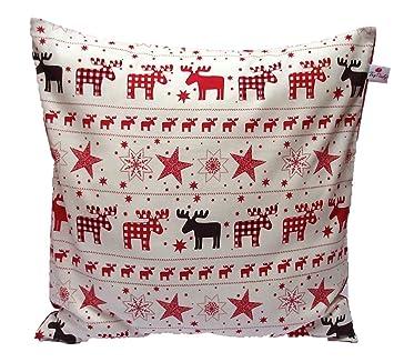 Kissenhulle 40 X 40 Cm Elche Rot Weihnachtsmuster Advent