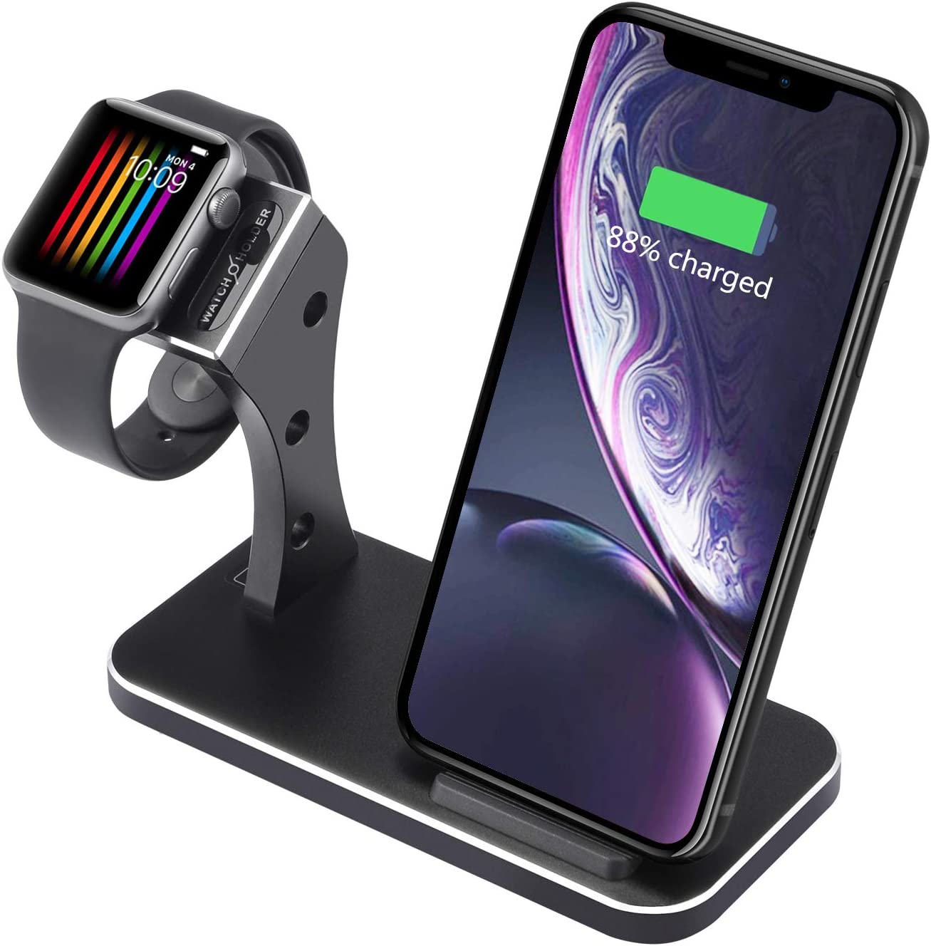 2 in 1 Aluminum Alloy Wireless Charger Stand for iPhone and iWatch,Charging Station Compatible with Apple Watch Series 4/3/2/1 & iPhone Xs Max/XS/XR/X/8/8 Plus (No AC Adapter)
