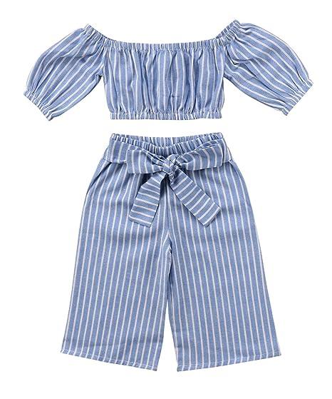 04e33d88f433 Amazon.com  Toddler Girl Stripe Off-Shouler Tube Top + Pant Set ...