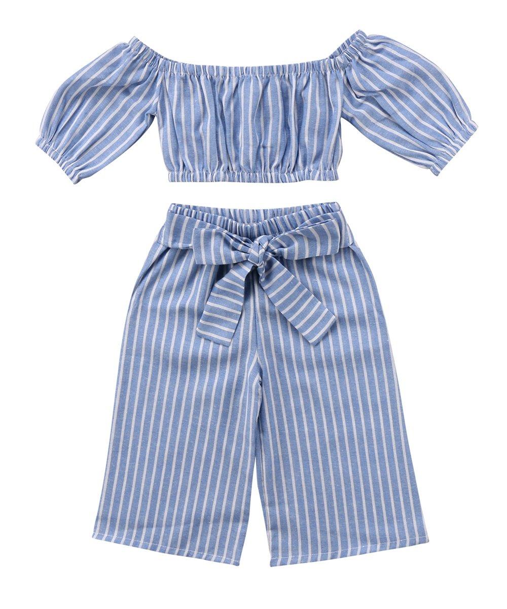 Toddler Girl Stripe Off-Shouler Tube Top + Pant Set