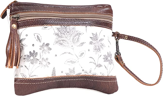 Myra Bag Creamy Petal Upcycled Canvas Leather Pouch Wristlet Bag S 1613 Handbags Amazon Com Free shipping cash on delivery easy returns and exchanges. amazon com