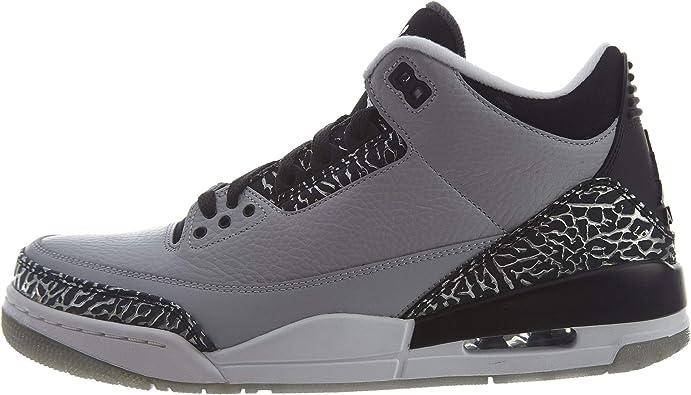 Nike Mens Air Jordan 3 Retro Wolf Grey/Metallic Silver-Black-White Leather Basketball Shoes Size 11.5