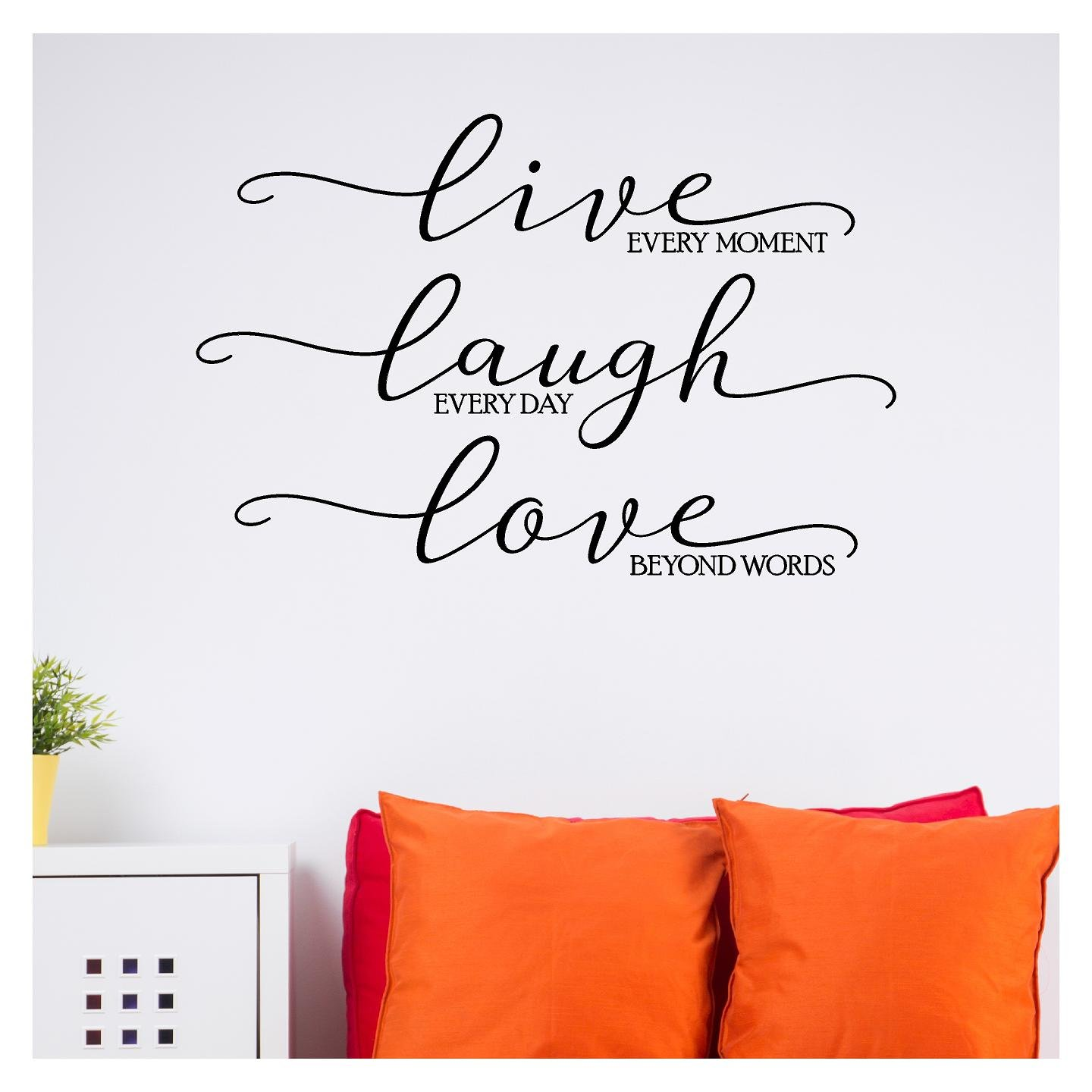 Live Every Moment, Laugh Everyday, Love Beyond Words Vinyl Lettering Wall Decal Sticker (Black, 16.5''H x 25''W)