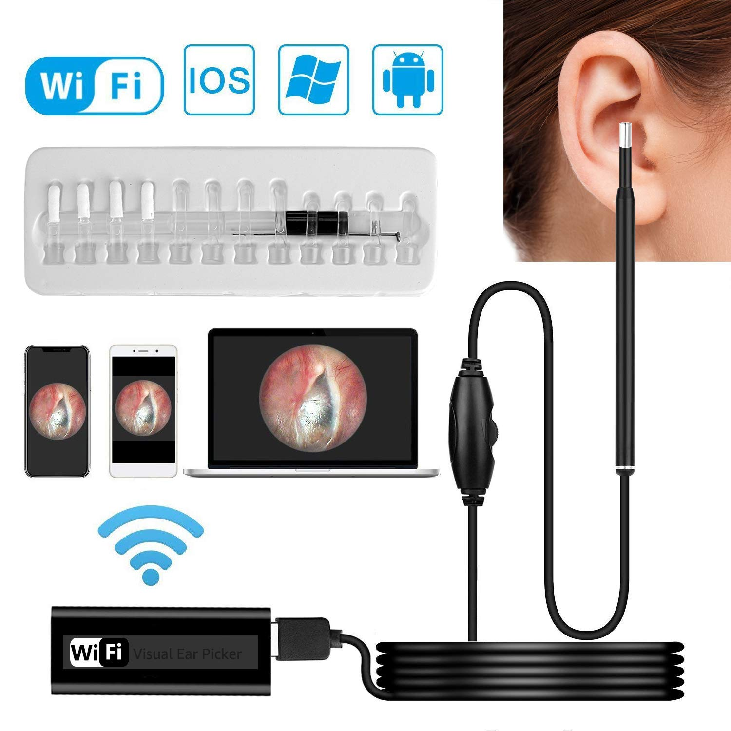 Otoscope, Wisdomspot Ear Wax Removal Tool, Ear Cleaner,Wireless Ear Otoscope Inspection Camera with 6 LED Lights for Ear Wax Removal,Compatible with iPhone Android Phones and Windows & MAC