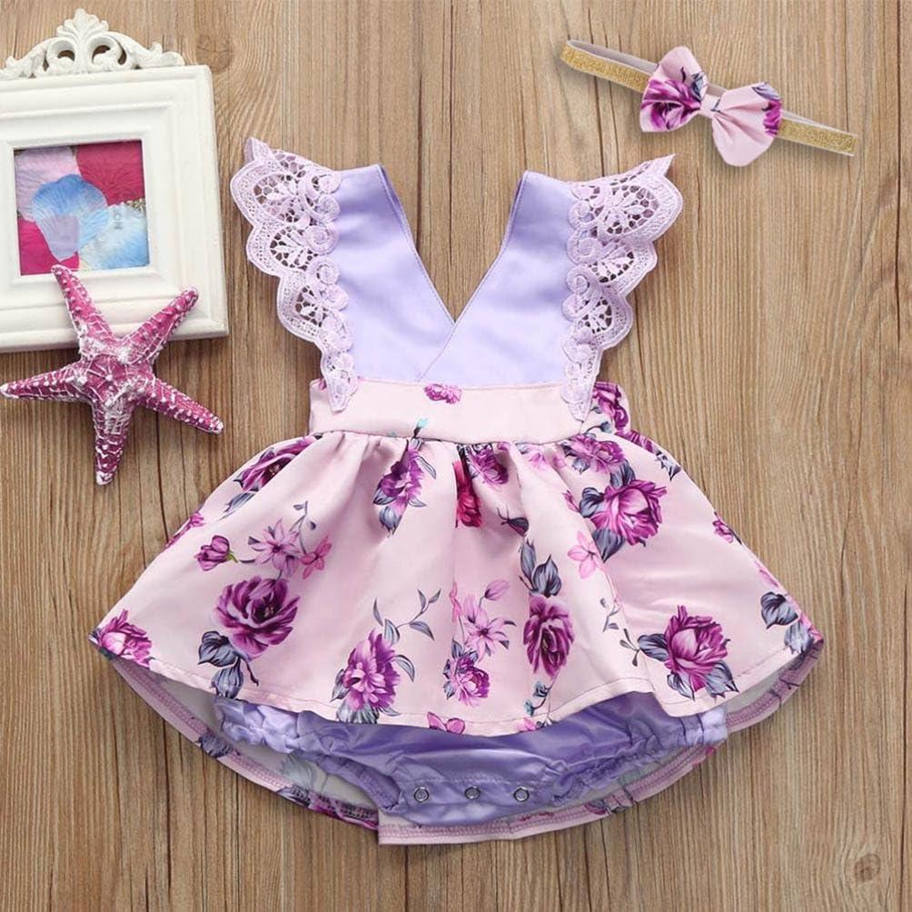 Elevin Toddle Tutu Skirt Kid Baby Girl Lace Flora Sleeveless Summer Dresses Sunsuit 0-6T TM