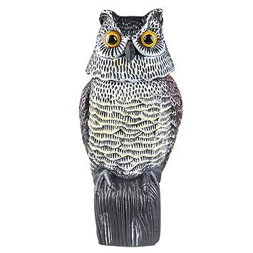 2pcs Owl Decoy Rotating Head Scarecrow Farm / Garden Defense Owl Yard  Protector Bird Pest Repellent