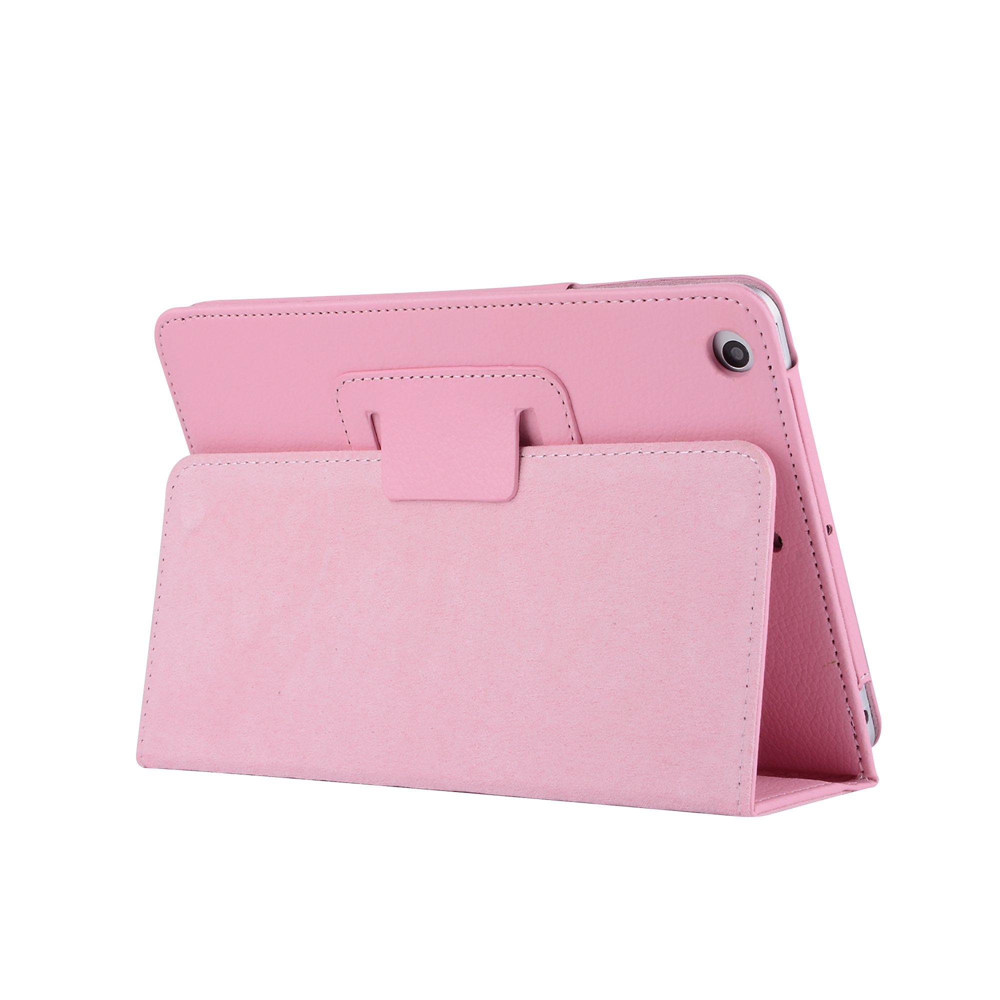 iPad Mini Case Cover, Mini/Mini 2/Mini 3 Skin Cover Ultra Slim Lightweight Case Cover PU Leather Shockproof Waterproof Tablet Case With Stand Function for iPad Apple Mini, Mini 2, Mini 3 - Pink