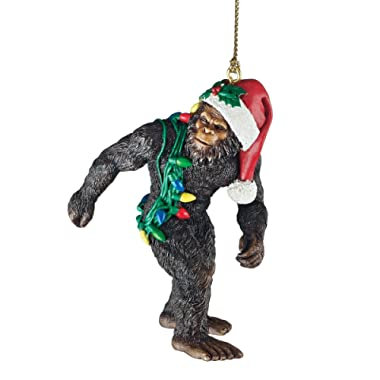 Design Toscano Bigfoot the Holiday Yeti with Santa Hat Funny Christmas Tree Ornament, 3 Inch, Polyresin, Full Color
