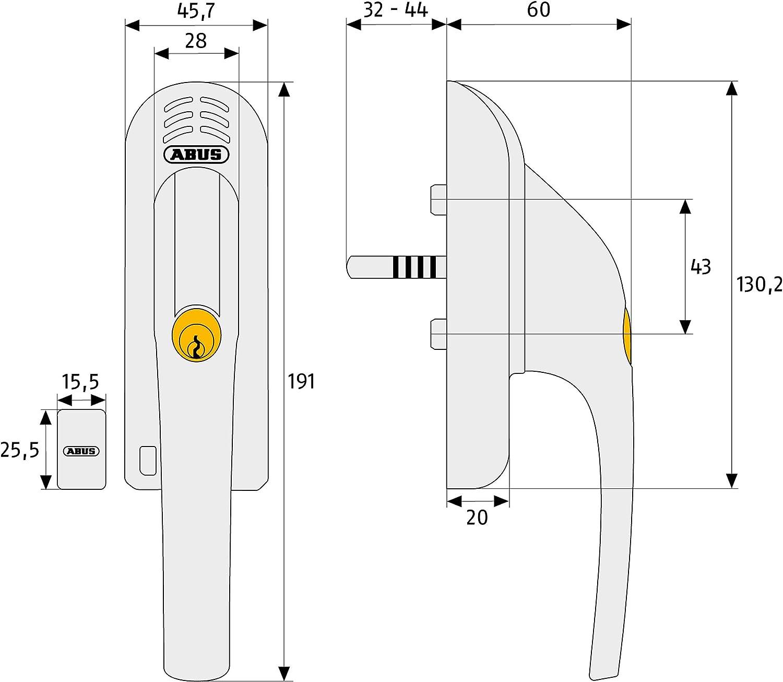 Abus 568022 FG300A B//SB color blanco Manilla con cerrojo para ventana apertura DIN derecha