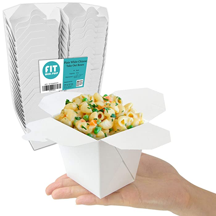 "[50 Pack] 8 oz Chinese Take Out Boxes - 2.75x2.5"" Plain White Paperboard Food Containers, Leak and Grease Resistant Pint Size Asian Rectangle to Go Boxes, Candy Buffet Box and Party Favors"