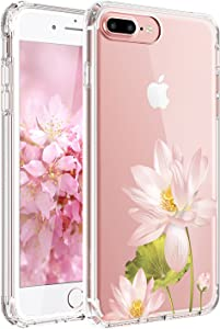 JIAXIUFEN Compatible with iPhone 7 Plus iPhone 8 Plus Case Cute Pink Lotus Clear Slim Shockproof Flower Floral Design Soft Flexible TPU Silicone Back Cover Phone Case
