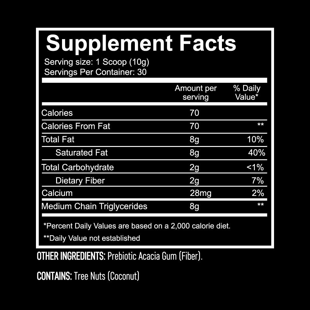 MCT Oil Powder with Prebiotic Acacia Fiber - 100% Pure Medium Chain Triglycerides - Designed for Ketogenic Diet to Control Appetite, Boost Ketone Production and Clean Energy. 30 Servings - Unflavored by Giant Sports (Image #4)