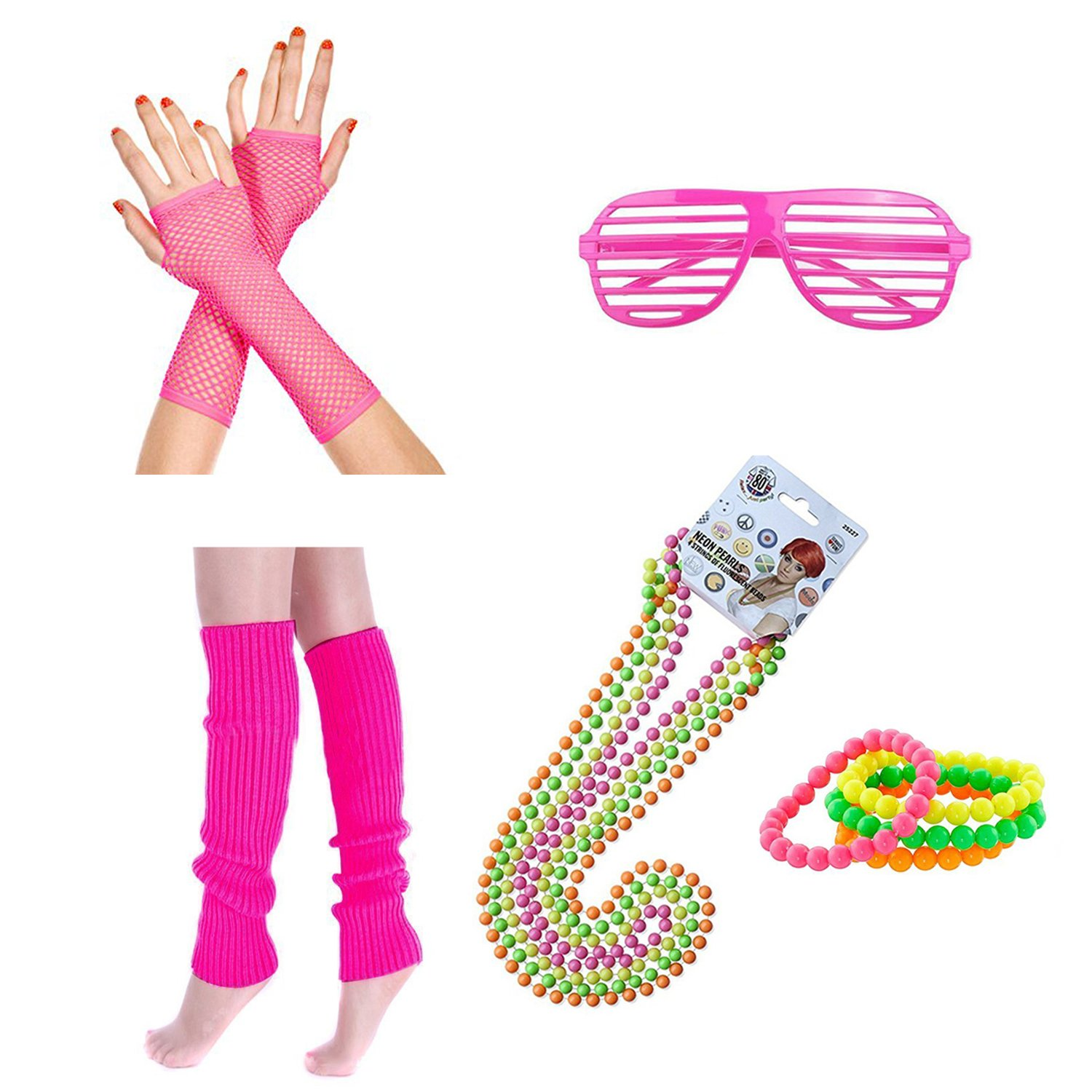 ResPai 1980s Fancy Dress Outfits Neon Legwarmers Fishnet Gloves Multicolour Bead Necklaces and Bracelets Neon Novelty Sunglasses 80s Party Costumes Accessories Set for Girls Women Night Out Party Supplies, 5 in 1