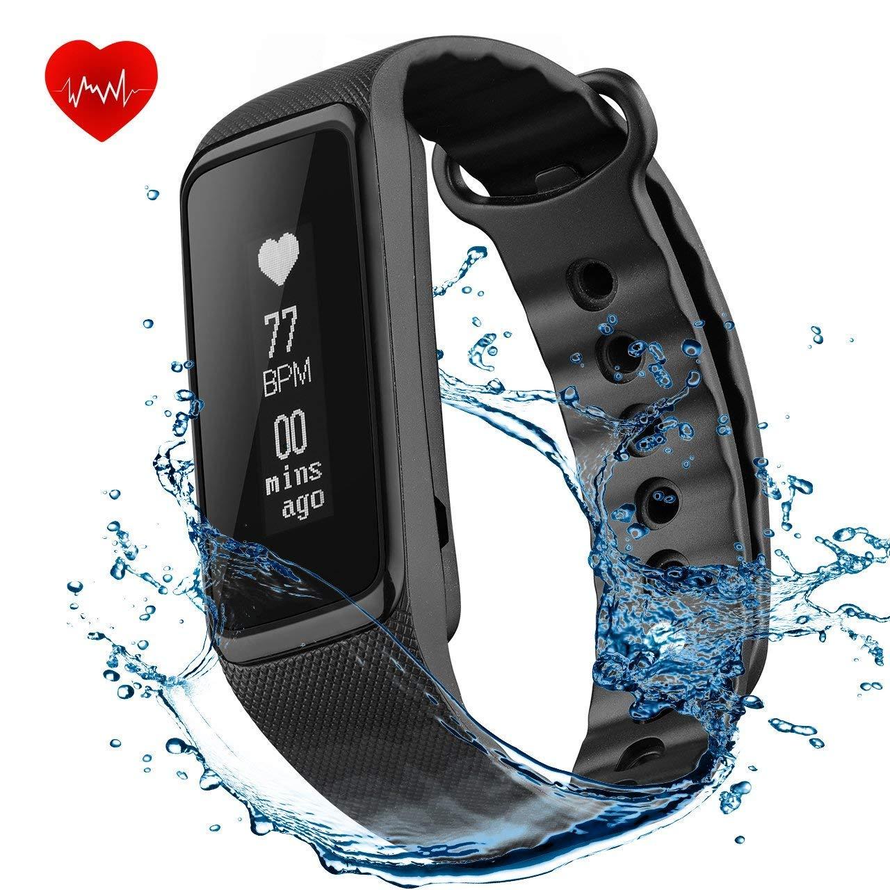 Omorc IP68Bracciale fitness tracker 4.0, Weloop, impermeabile, per sport, con cardiofrequenzimetro, Bluetooth, contapassi, monitoraggio dell'attività fisica e del sonno, notifica chiamate, compatibile con iOS 8.0o superiore, Android 4.4o superiore, nero