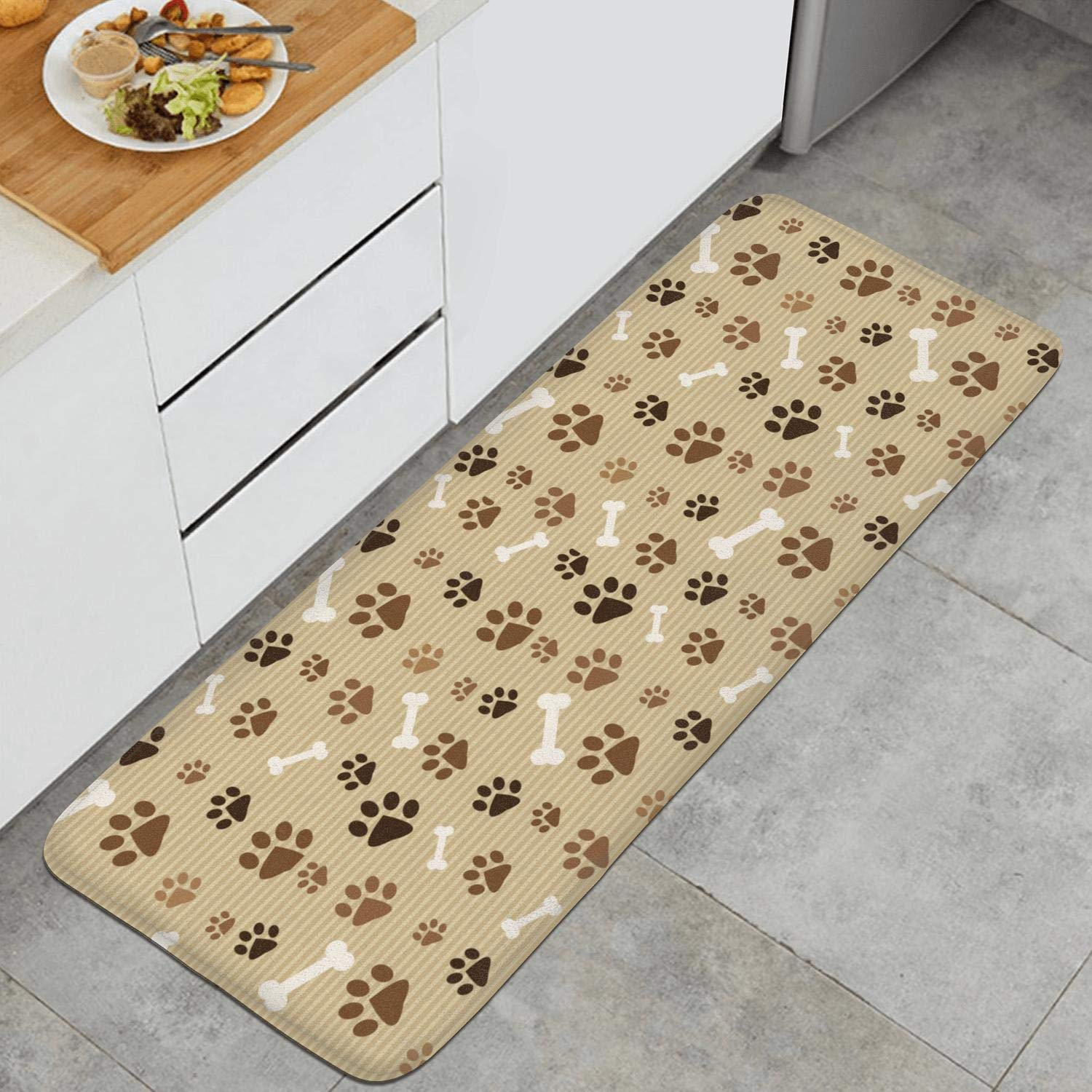 Amazon.com : GTWEWR Dog Paw Prints Striped Brown Bone Floor ...