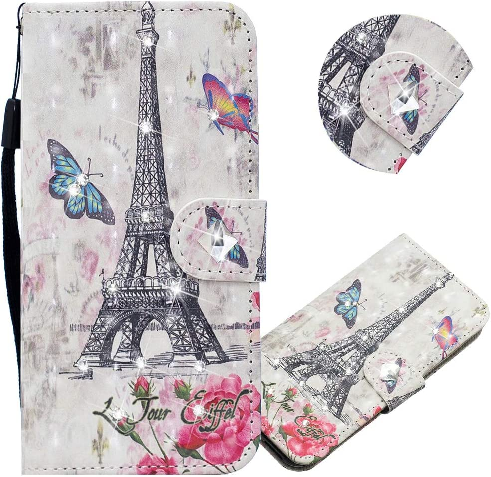 EMAXELER iPhone 11 Case 3D Creative Pattern PU Leather Wallet Diamond Case Bookstyle Flip Stand Card Holder Shockproof Magnetic Cover for iPhone 11 6.1 inch CY Eiffel Tower.