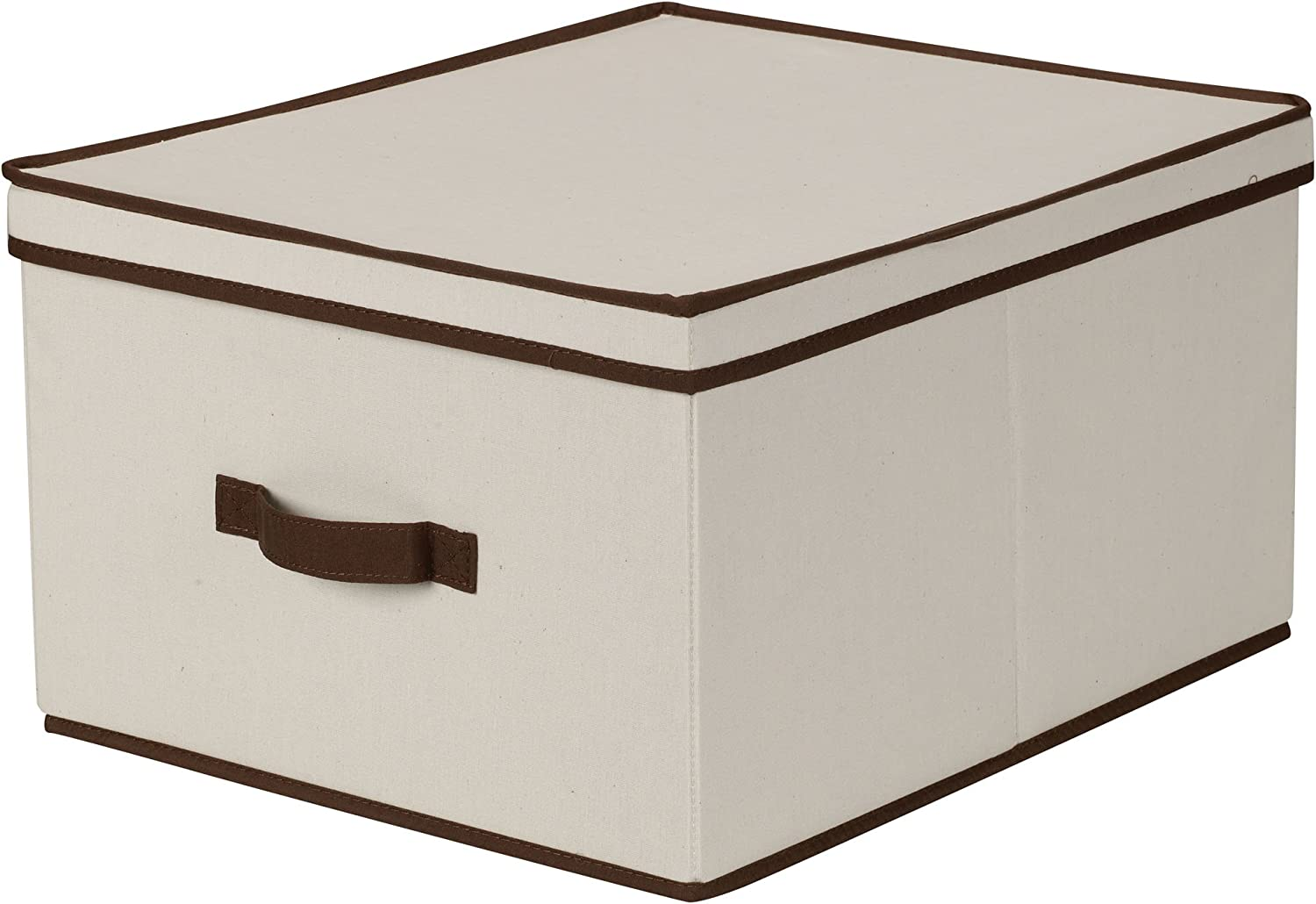 Amazon Com Household Essentials 515 Storage Box With Lid And Handle Natural Beige Canvas With Brown Trim Jumbo Home Kitchen