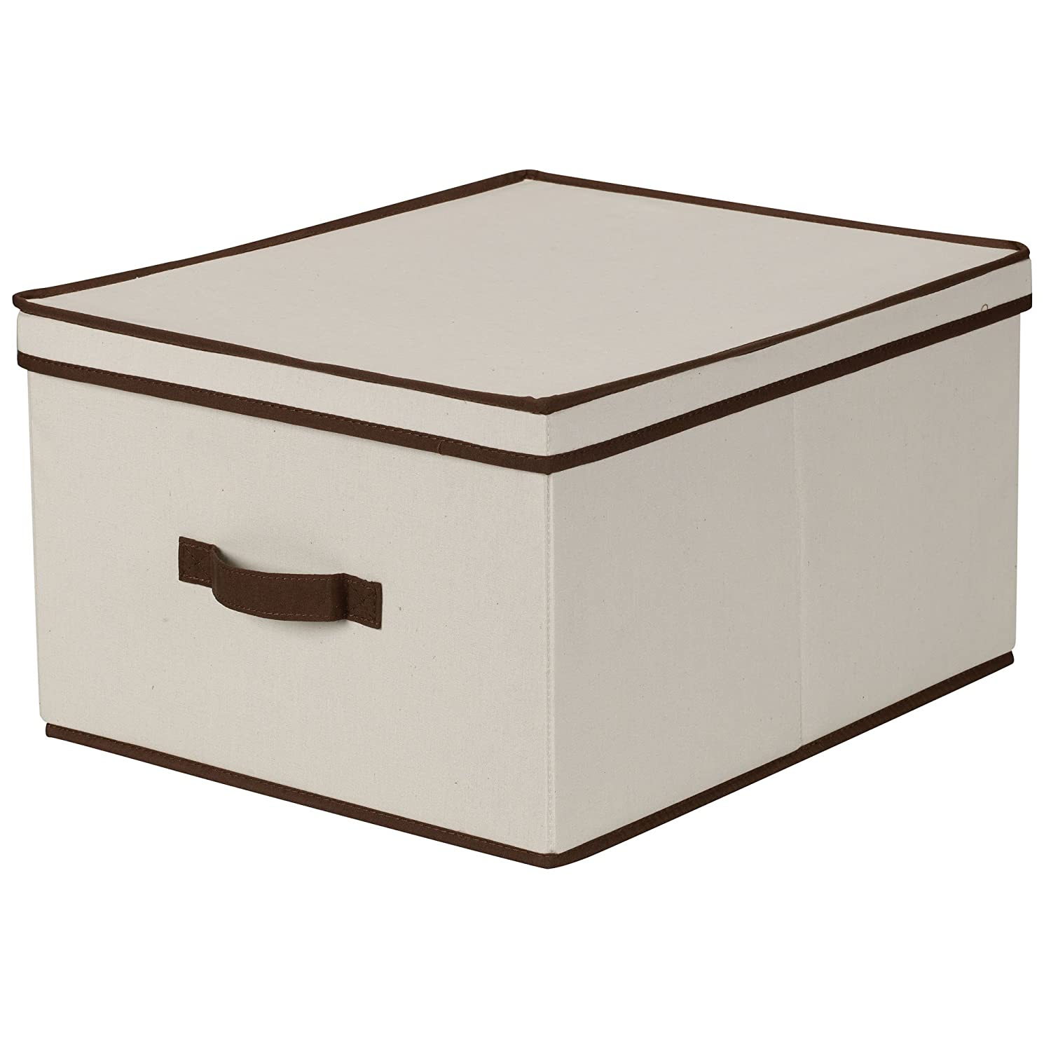 Attirant Amazon.com: Household Essentials 515 Storage Box With Lid And Handle   Natural Beige Canvas With Brown Trim  Jumbo: Home U0026 Kitchen